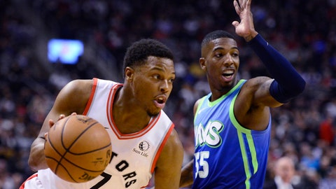 <p>               Toronto Raptors guard Kyle Lowry (7) moves past Dallas Mavericks guard Delon Wright (55) during first-half NBA basketball game action in Toronto, Sunday, Dec. 22, 2019. (Frank Gunn/The Canadian Press via AP)             </p>