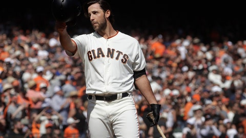 <p>               FILE - In this Sunday, Sept. 29, 2019, file photo, San Francisco Giants' Madison Bumgarner waves toward fans before pinch hitting against the Los Angeles Dodgers during the fifth inning of a baseball game in San Francisco. The Giants plan to meet with the free agent left-hander's representatives during the December 2019 baseball winter meetings in San Diego. (AP Photo/Jeff Chiu, File)             </p>
