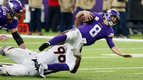 <p>               Minnesota Vikings quarterback Kirk Cousins (8) is sacked by Denver Broncos defensive tackle Shelby Harris (96) during the second half of an NFL football game, Sunday, Nov. 17, 2019, in Minneapolis. (AP Photo/Bruce Kluckhohn)             </p>