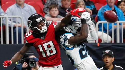 <p>               Atlanta Falcons wide receiver Calvin Ridley (18) misses the catch against Carolina Panthers cornerback Donte Jackson (26) during the first half of an NFL football game, Sunday, Dec. 8, 2019, in Atlanta. (AP Photo/John Bazemore)             </p>