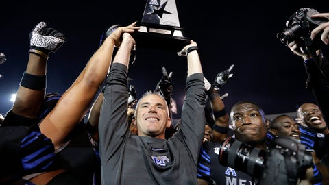 <p>               Memphis head coach Mike Norvell lifts the American Athletic Conference West Division championship trophy after his team defeated Cincinnati in an NCAA college football game Friday, Nov. 29, 2019, in Memphis, Tenn. Memphis is to play Cincinnati again next week in Memphis in the conference championship game. (AP Photo/Mark Humphrey)             </p>