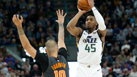 <p>               Utah Jazz guard Donovan Mitchell (45) shoots as Orlando Magic guard Evan Fournier (10) defends in the second half of an NBA basketball game Tuesday, Dec. 17, 2019, in Salt Lake City. (AP Photo/Rick Bowmer)             </p>