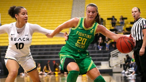 <p>               Oregon's Sabrina Ionescu (20) drives against Long Beach State's Justina King (10) in the first half of an NCAA  college basketball game, Saturday, Dec. 14, 2094 in Long Beach, Calif. (AP Photo/Ringo H.W. Chiu)             </p>