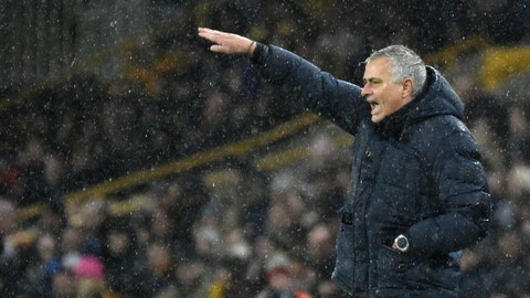 <p>               Tottenham's manager Jose Mourinho gives instructions from the side line during the English Premier League soccer match between Wolverhampton Wanderers and Tottenham Hotspur at the Molineux Stadium in Wolverhampton, England, Sunday, Dec.15, 2019. (AP Photo/Rui Vieira)             </p>