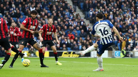 <p>               Brighton and Hove Albion's Alireza Jahanbakhsh scores against Bournemouth during the English Premier League soccer match at the AMEX Stadium, Brighton, England, Saturday Dec. 28, 2019. (Gareth Fuller/PA via AP)             </p>