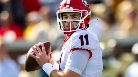 <p>               Georgia quarterback Jake Fromm looks to pass during the first half of an NCAA college football game against Georgia Tech, Saturday, Nov. 30, 2019 in Atlanta. (AP Photo/John Amis)             </p>