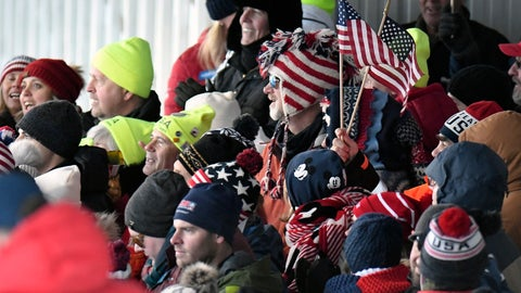 <p>               Fans watch the second run of a women's World Cup luge event at the finish area in Lake Placid, N.Y., on Saturday, Nov. 30, 2019. (AP Photo/Hans Pennink)             </p>