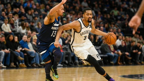 <p>               Brooklyn Nets guard Spencer Dinwiddie, right, drives past Minnesota Timberwolves guard Shabazz Napier during the first half of an NBA basketball game Monday, Dec. 30, 2019, in Minneapolis. (AP Photo/Craig Lassig)             </p>