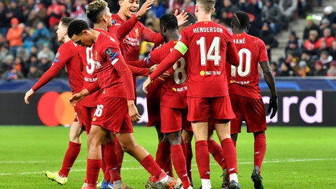 <p>               Liverpool's Naby Keita,center, celebrates with teammates after scoring his side's opening goal during the group E Champions League soccer match between Salzburg and Liverpool, in Salzburg, Austria, Tuesday, Dec. 10, 2019. (AP Photo/Kerstin Joensson)             </p>