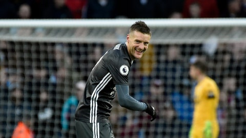 <p>               Leicester's Jamie Vardy smiles after scoring his side's fourth goal during the English Premier League soccer match between Aston Villa and Leicester City at Villa Park in Birmingham, England, Sunday, Dec. 8, 2019. (AP Photo/Rui Vieira)             </p>