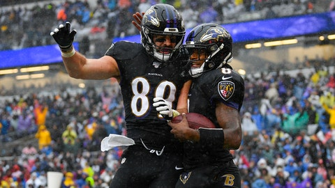 <p>               Baltimore Ravens quarterback Lamar Jackson (8) celebrating his touchdown with teammate tight end Mark Andrews (89) in the first half of an NFL football game, Sunday, Dec. 1, 2019, in Baltimore, Md. (AP Photo/Nick Wass)             </p>