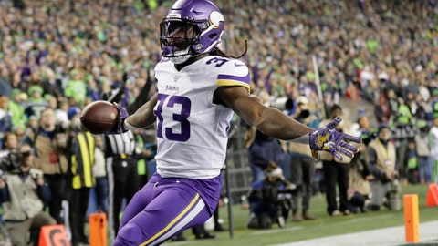 <p>               Minnesota Vikings' Dalvin Cook reacts after scoring against the Seattle Seahawks during the first half of an NFL football game, Monday, Dec. 2, 2019, in Seattle. (AP Photo/Ted S. Warren)             </p>