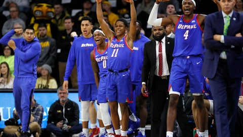 <p>               FILE - In this Nov. 11, 2019, file photo, DePaul guard Charlie Moore (11) and teammates celebrate on the bench during the first half of the team's NCAA college basketball game against Iowa in Iowa City, Iowa. The Blue Demons are 8-0 for the first time since the 1986-87 team won its first 16 games and turning heads in a way the once-proud program hasn't in years. With NCAA runner-up Texas Tech visiting on Wednesday, they could really open some eyes. DePaul already has road wins over Iowa, Boston College and Minnesota. (AP Photo/Charlie Neibergall, File)             </p>