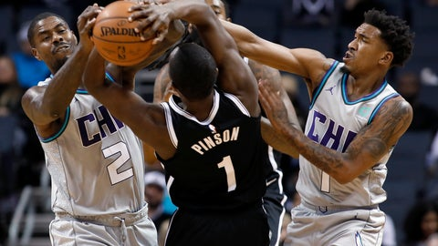 <p>               Charlotte Hornets' Marvin Williams (2) teams up with Malik Monk (1) to steal the ball away from Brooklyn Nets' Theo Pinson (1) during the second half of an NBA basketball game in Charlotte, N.C., Friday, Dec. 6, 2019. The Nets won 111-104. (AP Photo/Bob Leverone)             </p>