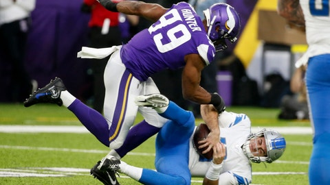 <p>               Detroit Lions quarterback David Blough (10) is sacked by Minnesota Vikings defensive end Danielle Hunter (99) during the first half of an NFL football game, Sunday, Dec. 8, 2019, in Minneapolis. (AP Photo/Bruce Kluckhohn)             </p>