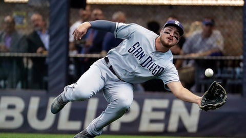 <p>               FILE - In this Sept. 19, 2019, file photo, San Diego Padres' Hunter Renfroe makes a diving catch on a ball hit by Milwaukee Brewers' Lorenzo Cain during the first inning of a baseball game in Milwaukee. The Padres have acquired outfielder Tommy Pham and infielder-pitcher Jake Cronenworth from the Tampa Bay Rays for Renfroe, minor league infielder Xavier Edwards and a player to be named. (AP Photo/Morry Gash, File)             </p>