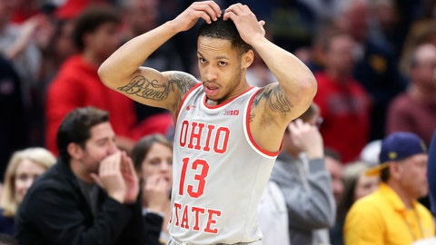 <p>               Ohio State's CJ Walker reacts during the second half of an NCAA college basketball game against West Virginia Sunday, Dec. 29, 2019, in Cleveland. West Virginia defeated Ohio State 67-59. (AP Photo/Ron Schwane)             </p>