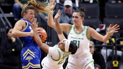 <p>               South Dakota State's Lindsey Theuninck, left, is called for a player control foul under pressure from Oregon's Minyon Moore, center, and Erin Boley during the first quarter of an NCAA college basketball game in Eugene, Ore., Sunday, Dec. 8, 2019. (AP Photo/Chris Pietsch)             </p>