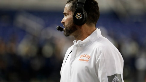<p>               Miami coach Manny Diaz watches during the first half of the team's NCAA college football game against Florida International, Saturday, Nov. 23, 2019, in Miami. FIU won 30-24. (AP Photo/Lynne Sladky)             </p>