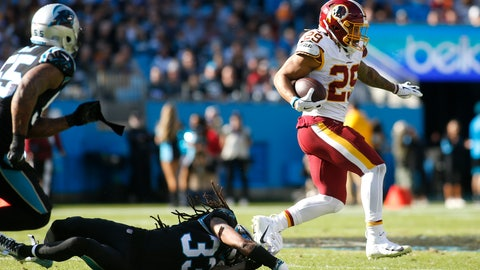 <p>               Washington Redskins running back Derrius Guice (29) runs the ball while Carolina Panthers free safety Tre Boston (33) dives to tackle during the first half of an NFL football game in Charlotte, N.C., Sunday, Dec. 1, 2019. (AP Photo/Brian Blanco)             </p>