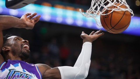 <p>               Utah Jazz forward Jeff Green watch his dunk during the first half of the team's NBA basketball game against the Memphis Grizzlies, Saturday, Dec. 7, 2019, in Salt Lake City. (AP Photo/George Frey)             </p>
