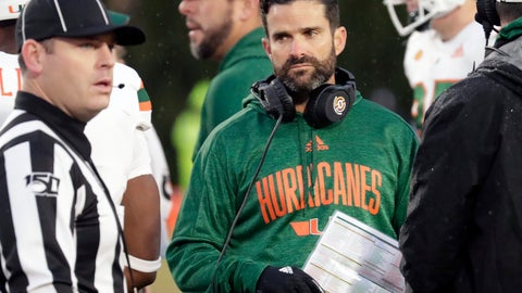 <p>               Miami head coach Manny Diaz looks to an official during the second quarter of an NCAA college football game against Duke in Durham, N.C., Saturday, Nov. 30, 2019. (AP Photo/Chris Seward)             </p>