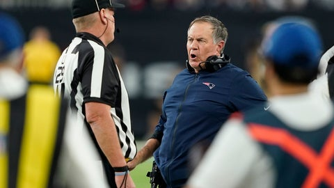 <p>               New England Patriots head coach Bill Belichick, center, questions a call during the first half of an NFL football game Sunday, Dec. 1, 2019, in Houston. (AP Photo/David J. Phillip)             </p>