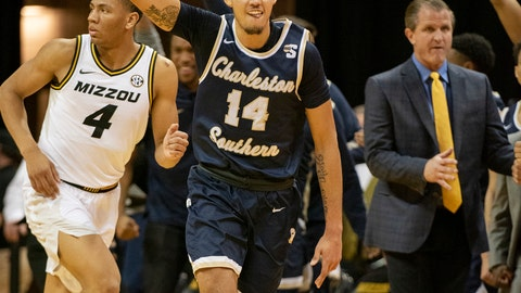 <p>               Charleston Southern's Duncan LeXander, center, celebrates a three point basket during the second half of an NCAA college basketball game against Missouri Tuesday, Dec. 3, 2019, in Columbia, Mo. Charleston Southern won the game 68-60. (AP Photo/L.G. Patterson)             </p>