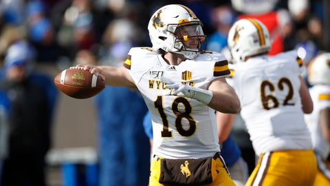 <p>               Wyoming quarterback Tyler Vander Waal drops back to pass against Air Force in the first half of an NCAA college football game Saturday, Nov. 30, 2019, at Air Force Academy, Colo. (AP Photo/David Zalubowski)             </p>