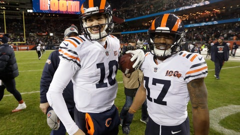 <p>               Chicago Bears quarterback Mitchell Trubisky and wide receiver Anthony Miller (17) react following an NFL football game against the Dallas Cowboys, Thursday, Dec. 5, 2019, in Chicago. Chicago won 31-24. (AP Photo/Morry Gash)             </p>