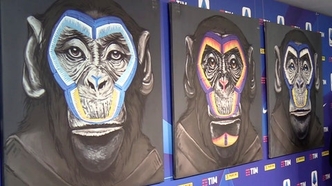 """<p>               A view of the three paintings, part of a new campaign against racism launched by the Italian soccer league in Milan, Italy, Monday, Dec. 16, 2019. While black players are regularly subjected to monkey chants in games, artist Simone Fugazzotto said his painting featuring three monkeys to represent three different races was meant """"to show that we are all the same race."""" The league used the painting at a presentation of its anti-racism campaign in Milan on Monday, stirring up controversy and criticism from both clubs and press. (ANSA via AP)             </p>"""