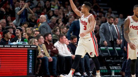 <p>               Portland Trail Blazers guard CJ McCollum gestures after scoring against the Golden State Warriors during the second half of an NBA basketball game in Portland, Ore., Wednesday, Dec. 18, 2019. The Trail Blazers won 122-112. (AP Photo/Craig Mitchelldyer)             </p>