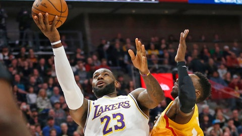 <p>               Utah Jazz forward Jeff Green, right, defends against Los Angeles Lakers forward LeBron James, left, as he drives to the basket in the first half during an NBA basketball game Wednesday, Dec. 4, 2019, in Salt Lake City. (AP Photo/Rick Bowmer)             </p>
