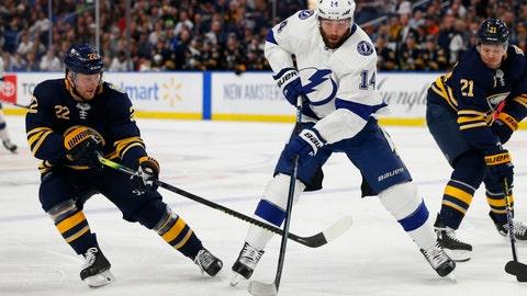 <p>               Buffalo Sabres forward Johan Larsson (22) stick-checks Tampa Bay Lightning forward Pat Maroon (14) during the second period of an NHL hockey game Tuesday, Dec. 31, 2019, in Buffalo, N.Y. (AP Photo/Jeffrey T. Barnes)             </p>