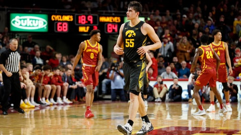 <p>               Iowa center Luka Garza (55) walks on the court at the end of an NCAA college basketball game against Iowa State, Thursday, Dec. 12, 2019, in Ames, Iowa. Iowa won 84-68. (AP Photo/Charlie Neibergall)             </p>