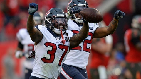 <p>               Houston Texans strong safety Jahleel Addae (37) celebrates with cornerback Gareon Conley (22) after Addae intercepted a pass by Tampa Bay Buccaneers quarterback Jameis Winston during the second half of an NFL football game Saturday, Dec. 21, 2019, in Tampa, Fla. (AP Photo/Jason Behnken)             </p>
