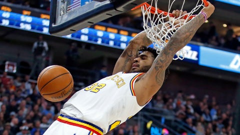 <p>               Golden State Warriors forward Marquese Chriss dunks against the Utah Jazz in the first half during an NBA basketball game Friday, Dec. 13, 2019, in Salt Lake City. (AP Photo/Rick Bowmer)             </p>