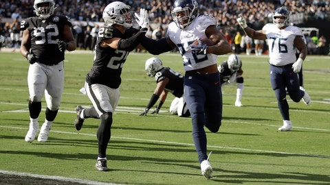 <p>               Tennessee Titans running back Derrick Henry (22) scores past Oakland Raiders free safety Erik Harris (25) during the first half of an NFL football game in Oakland, Calif., Sunday, Dec. 8, 2019. (AP Photo/Ben Margot)             </p>