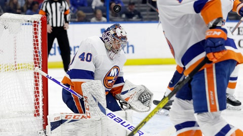 <p>               New York Islanders goaltender Semyon Varlamov (40) makes a save on a shot by the Tampa Bay Lightning during the second period of an NHL hockey game Monday, Dec. 9, 2019, in Tampa, Fla. (AP Photo/Chris O'Meara)             </p>