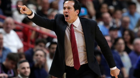 <p>               Miami Heat head coach Erik Spoelstra reacts during the second half of an NBA basketball game against the Golden State Warriors, Friday, Nov. 29, 2019, in Miami. (AP Photo/Lynne Sladky)             </p>
