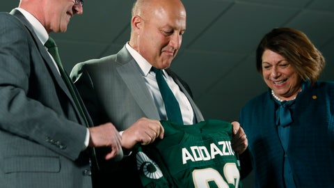 <p>               Steve Addazio, center, looks down at a jersey presented to him by athletic director Joe Parker, left, and President Joyce McConnell during an announcement that Addazio has been hired as the new head football coach at Colorado State University at a news conference at the school Thursday, Dec. 12, 2019, in Fort Collins, Colo. (AP Photo/David Zalubowski)             </p>