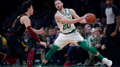 <p>               Boston Celtics forward Gordon Hayward (20) sets to drive to the basket against Cleveland Cavaliers forward Cedi Osman (16) during the first half of an NBA basketball game in Boston, Monday, Dec. 9, 2019. Hayward returned to play after breaking his left hand in early November. (AP Photo/Charles Krupa)             </p>
