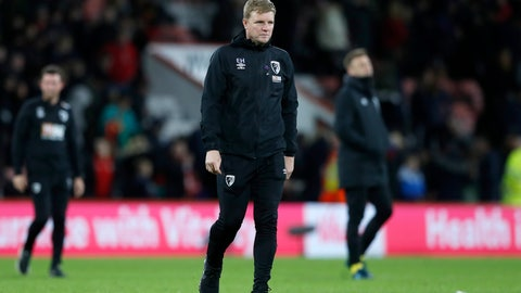 <p>               Bournemouth's manager Eddie Howe walks on the field at the end of the English Premier League soccer match between Bournemouth and Liverpool at the Vitality stadium in Bournemouth, England, Saturday, Dec. 7, 2019. (AP Photo/Alastair Grant)             </p>