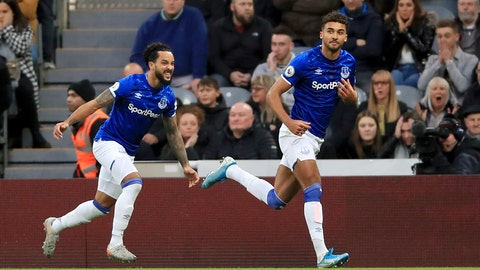 <p>               Everton's Dominic Calvert-Lewin, right, celebrates scoring against Newcastle United during the English Premier League soccer match at St James' Park, Newcastle, England, Saturday Dec. 28, 2019. (Owen Humphreys/PA via AP)             </p>
