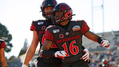 <p>               San Diego State cornerback Luq Barcoo (16) celebrates with linebacker Troy Cassidy (42) after an interception in the end zone during the first half of the New Mexico Bowl NCAA college football game against Central Michigan on Saturday, Dec. 21, 2019 in Albuquerque, N.M. (AP Photo/Andres Leighton)             </p>
