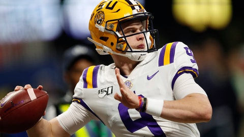 <p>               FILE - In this Dec. 7, 2019, file photo, LSU quarterback Joe Burrow (9) warms up before the Southeastern Conference championship NCAA college football game against Georgia, in Atlanta. Burrow is a unanimous selection as the offensive player of the year on The Associated Press All-Southeastern Conference football team, Monday, Dec. 9, 2019.(AP Photo/John Bazemore, File)             </p>