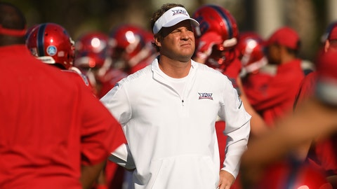 <p>               FILE - In this Oct. 6, 2018, file photo, Florida Atlantic head coach Lane Kiffin looks over his team during warm-ups before an NCAA college football game against Old Dominion, in Boca Raton, Fla. Kiffin has Florida Atlantic in the Conference USA title game for the second time in three years. The Owls play host to defending champion UAB on Saturday, Dec. 7, 2019, amid speculation that it might be Kiffin's farewell at FAU. (Jim Rassol/South Florida Sun-Sentinel via AP, File)             </p>
