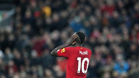 <p>               Liverpool's Sadio Mane reacts during the English Premier League soccer match between Liverpool and Everton at Anfield Stadium, Liverpool, England, Wednesday, Dec. 4, 2019. (AP Photo/Jon Super)             </p>
