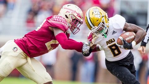 <p>               Florida State defensive back Hamsah Nasirildeen tackles Alabama State wide receiver Tyrek Allen in the second half of an NCAA college football game in Tallahassee, Fla., Saturday, Nov. 16, 2019. Florida State defeated Alabama State 49-12. (AP Photo/Mark Wallheiser)             </p>