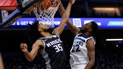 <p>               Minnesota Timberwolves forward Andrew Wiggins, right, stuffs over Sacramento Kings forward Marvin Bagley III during the first quarter of an NBA basketball game in Sacramento, Calif., Thursday, Dec. 26, 2019. (AP Photo/Rich Pedroncelli)             </p>